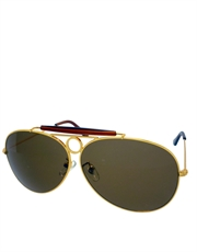 Magnum T.Selleck Style Aviator Sunglasses, Gold Frame / Brown Lens