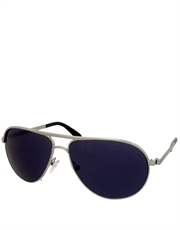 Sky Secret Agent Style Sunglasses, Silver Frame / Blue Mirror Lens