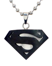 Superman Black Symbol Steel Large Pendant Necklace
