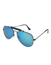 Cobra Style Aviator Sunglasses, Black Frame / Ice Blue Mirror Lens