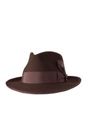 Fedora Wool Felt Hat, Style 4, Brown