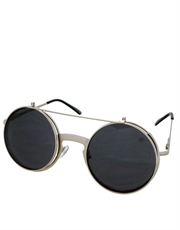 Teashade Sunglasses, Flip Large Style 22, Silver Frame / Smoke Lens