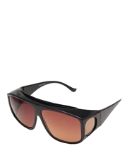 Stark II Style Fitover Sunglasses, Black Frame / Brown Lens