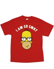 Simpsons T-Shirt, Simpsons Homer Smart Red