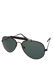 Cobra Style Aviator Sunglasses, Black Frame / Smoke Lens