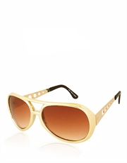 True Romance Elvis Style Sunglasses, Gold Frame / Brown Gradient Lens