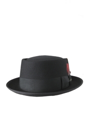 Pork Pie Wool Felt Hat, Black