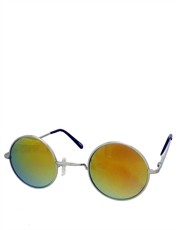 Teashade Sunglasses, Round Revo Style 21, Silver Frame / Yellow Mirror Revo
