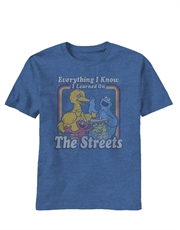 Sesame Street T-Shirt, Sesame Street Everything I Know Blue Heathered