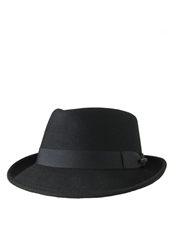 Diamond Crushable Stingy Fedora, Wool Felt Hat, Black