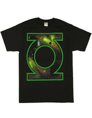 Green Lantern T-Shirt, Green Lantern Space Logo Black