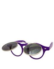 Teashade Sunglasses, Teashade Round Flip Silver Purple Smoke Style 20