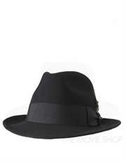 Fedora Fur Felt Hat, Style 1, Black