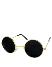 Ozzy Style Sunglasses, Gold Frame / Smoke Mirror Lens