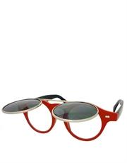Teashade Sunglasses, Teashade Round Flip Silver Red Smoke Style 20