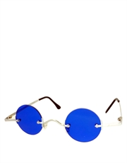 Teashade Sunglasses, Teashade Round Silver Blue Style 18