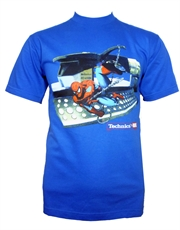 Spiderman T-Shirt, Spiderman Swinging Blue