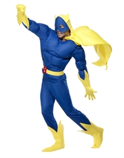 Bananaman Costume, Mens Padded Chest Blue & Yellow Outfit