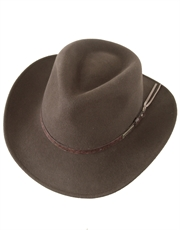 Indiana Jones Hat, Mens Officially Licensed Wool Felt Crushable Outback Olive