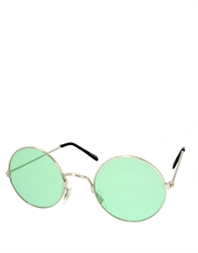 Teashade Sunglasses, Teashade Round Style 10, Silver Frame / Green Lens