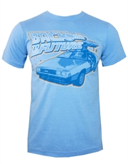 Back To The Future T-Shirt, Back To The Future Delorean Sky Blue