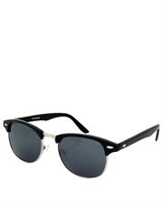 Bueller Style Sunglasses, Black & Silver Frame / Smoke Lens