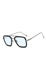 Stark/Parker EDITH Style Sunglasses Silver Frame/Light Blue Lens