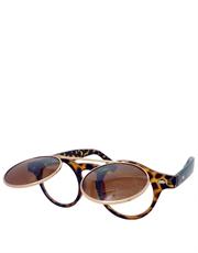 Teashade Sunglasses, Teashade Round Flip Gold Tortoise Brown Style 20