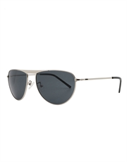 Solace Style Aviator Sunglasses, Silver Frame / Blue Smoke Mirror Lens