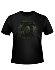 Green Lantern T-Shirt, Green Lantern Distressed Logo Black