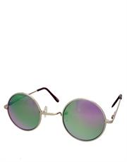 Teashade Sunglasses, Round Revo Style 21, Silver Frame / Purple Mirror Revo