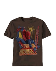 Spiderman T-Shirt, Spiderman Kids T-Shirt, Amazing Spiderman Movie Eye On City Brown