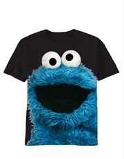 Sesame Street T-Shirt, Sesame Street Cookie Monster Big Photo Black