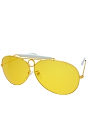Fear Loathing Depp Style Aviator Sunglasses, Gold Frame / Yellow Lens