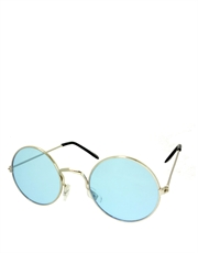 Teashade Sunglasses, Teashade Round Style 10, Silver Frame / Blue Lens