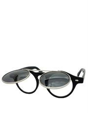 Teashade Sunglasses, Teashade Round Flip Silver Black Smoke Style 20