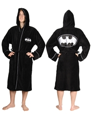 Batman Bathrobe, Mens Batman Dressing Gown Bathrobe, Silver Logo Cotton Black