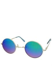Teashade Sunglasses, Round Revo Style 21, Silver Frame / Green Mirror Revo