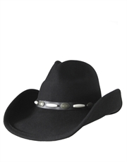 Western Cowboy Duke Crushable Wool Felt Hat, Black