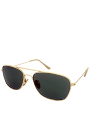 Taxi Driver DeNiro Style Military Sunglasses, Gold Frame / Green Lens