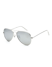 T1000 Style Aviator Cop Sunglasses, Silver Frame / Full Mirror Lens