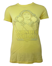 Wonder Woman Arms Crossed Yellow Ladies T-Shirt