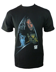 Star Trek T-Shirt, Star Trek Four Character Shield Black