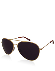 Brasco Depp Style Aviator Sunglasses, Gold Frame / Smoke Lens