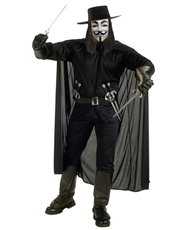 V For Vendetta Costume Accessory, Mens V For Vendetta Costume Cape Style 1