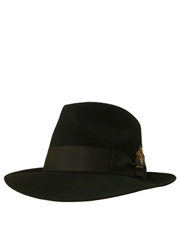 Fedora Fur Felt Suede Finish Hat, Style 3, Black