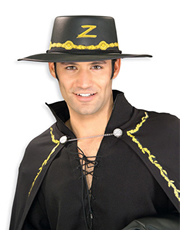 Zorro Costume Accessory, Mens Zorro Hat Style 1